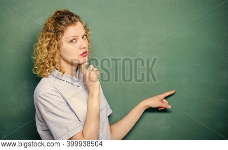 Just Look Here. Teachers Enlighten Path Of Success. Woman Teacher In Front Of Chalkboard. Important