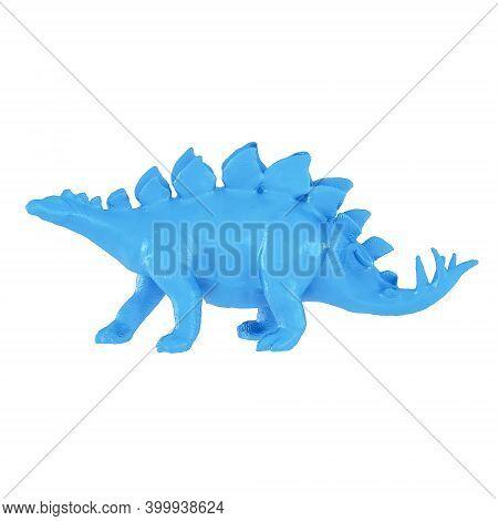 Plastic Blue Toy Dinosaur Stegosaurus On Isolated Background. 3d Rendering