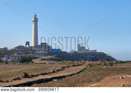 Casablanca, Morocco - January 18 2019: The El Hank Lighthouse Is A Lighthouse Located On Cap El Hank