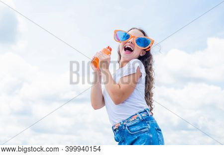 Child Have Fun. Happy Childhood. Time For Lunch. Girl With Juice Bottle. Feel Thirsty. Water Balance