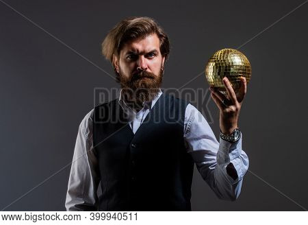 Man With Beard Hold Mirror Disco Ball. Concept Of Corporate Party. Disco Man In Suit With Sparkling