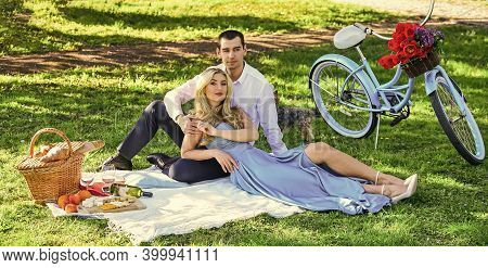 Couple Having Picnic In Local Park. Couple Sit Blanket. Happy Together. Romantic Picnic. Idyllic Mom