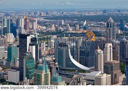 Bangkok, Thailand - September 17 2018: Aerial View Of The Central Embassy, The Palladium It Pratunam