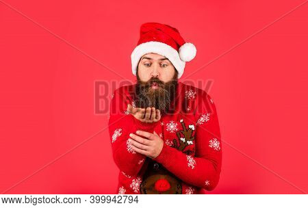 Winter Is Snow Much Fun. Cold Weather. Holiday Season Mood. Bearded Man Santa Hat. Merry Christmas.