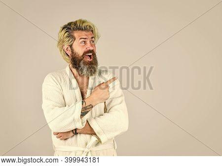 Hygiene And Spa. Spa Resort. Hotel Apartments. Bearded Guy Wearing White Bathrobe. Mature Man Wear B