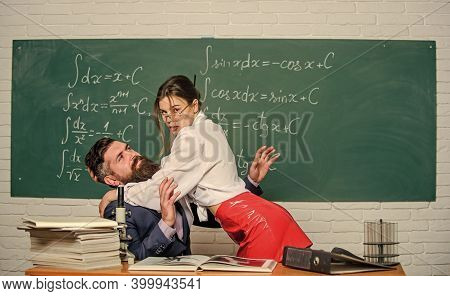Teacher Student Flirting. Sexual Provocation. Provoke Sexual Desire. Initiative Girl. Harassment At