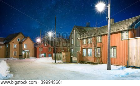 Old Town Street At Starry Night, Tromso, Norway
