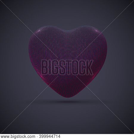 3d Digital Futuristic Pink Heart On Gray Background. Abstract Vector Illustration Of Online Dating A