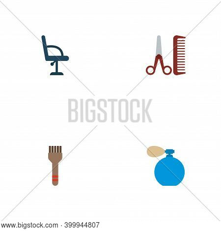 Set Of Barber Icons Flat Style Symbols With Barbershop Furniture, Hairstylist, Coloring Brush And Ot
