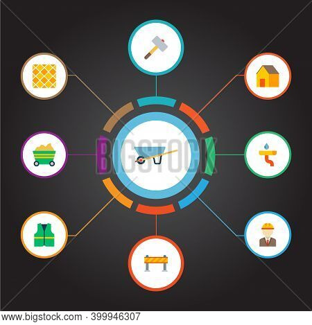 Set Of Industrial Icons Flat Style Symbols With Wheel Barrow, Engineer, Trolley And Other Icons For