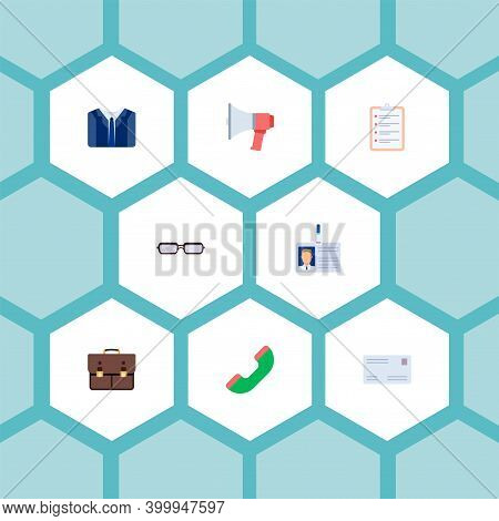 Set Of Job Icons Flat Style Symbols With Case, Badge, Handset Icons For Your Web Mobile App Logo Des