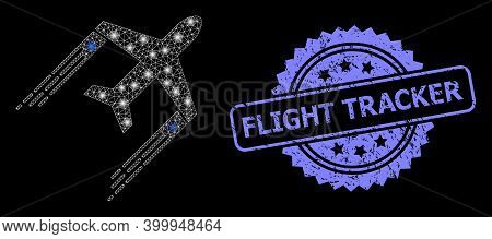 Glowing Mesh Network Airplane Trail With Lightspots, And Flight Tracker Textured Rosette Stamp Seal.