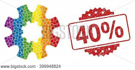 Cog Gear Collage Icon Of Filled Circle Blots In Various Sizes And Lgbt Color Hues, And 40 Percent Un