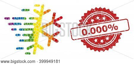 Frost Snowflake Collage Icon Of Filled Circle Spots In Variable Sizes And Rainbow Colored Color Ting