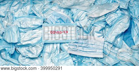 Contagious Mask. Medical Mask Texture Background. Coronavirus Banner. Mask Conceptual. Covid-19 Back