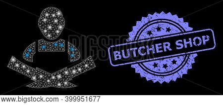 Glowing Mesh Network Butcher With Glowing Spots, And Butcher Shop Unclean Rosette Stamp. Illuminated