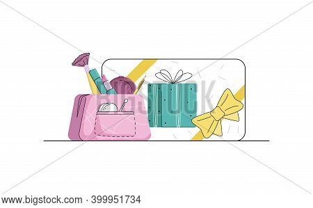 Vector Illustration With Concept Gift Cards, Makeup, Cosmetics, Raffle Prizes, Promotions, Pre Holid