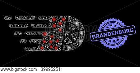 Glowing Mesh Web Car Wheel With Lightspots, And Brandenburg Grunge Rosette Stamp Seal. Illuminated V