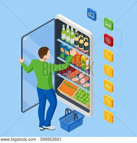 Isometric Grocery Supermarket, Food And Eats Online Buying And Delivery. E-commerce Concept Order Fo