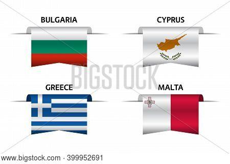 Set Of Four Bulgarian, Cyprus, Greek And Malta Ribbons. Made In Bulgary, Made In Cyprus, Made In Gre