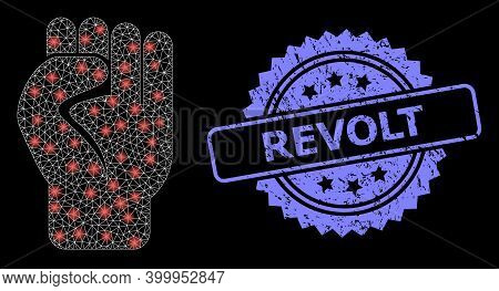 Glowing Mesh Network Clenched Fist With Light Spots, And Revolt Dirty Rosette Stamp. Illuminated Vec
