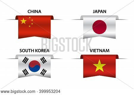 Set Of Four Chinese, Japanese, Korean And Vietnamese Ribbons. Made In China, Made In Japan, Made In