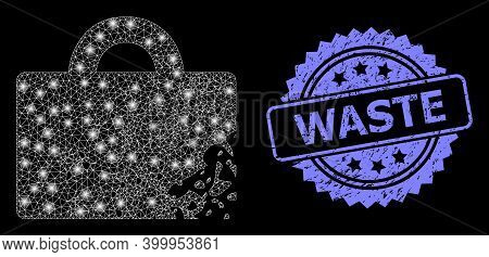 Bright Mesh Network Damaged Luggage With Light Spots, And Waste Scratched Rosette Watermark. Illumin