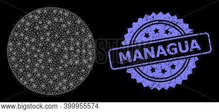 Bright Mesh Web Filled Circle With Light Spots, And Managua Grunge Rosette Stamp Seal. Illuminated V