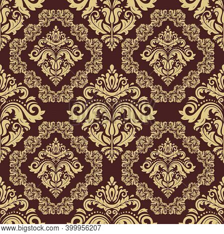 Classic Seamless Pattern. Damask Orient Ornament. Classic Vintage Background. Golden Ornament For Fa