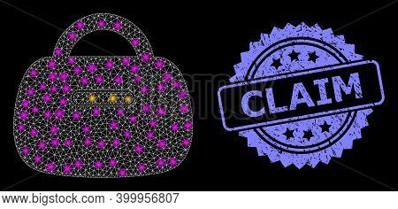 Glowing Mesh Network Handbag With Lightspots, And Claim Corroded Rosette Seal Imitation. Illuminated