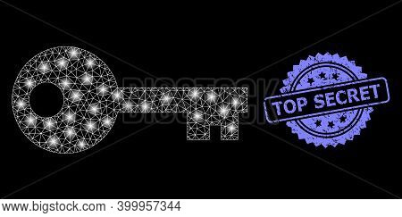 Glowing Mesh Web Key With Glowing Spots, And Top Secret Dirty Rosette Stamp Seal. Illuminated Vector
