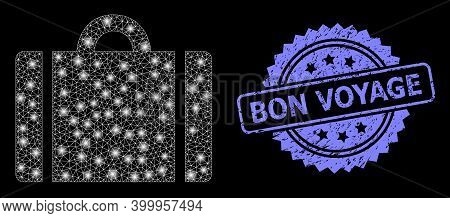 Glowing Mesh Web Luggage With Glowing Spots, And Bon Voyage Grunge Rosette Stamp Seal. Illuminated V