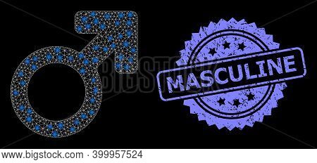 Shiny Mesh Web Male Symbol With Lightspots, And Masculine Unclean Rosette Stamp. Illuminated Vector