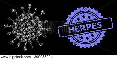 Glare Mesh Web Microbe With Glowing Spots, And Herpes Textured Rosette Seal Print. Illuminated Vecto