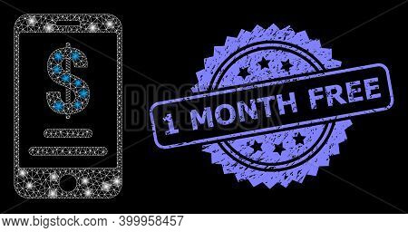 Glare Mesh Net Mobile Dollar Account With Lightspots, And 1 Month Free Textured Rosette Stamp Seal.