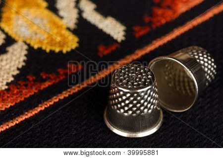 Pair of thimbles closeup