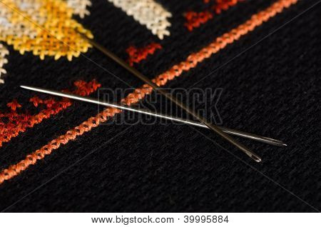 Pair of needles closeup