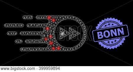 Glare Mesh Web Play Forward With Light Spots, And Bonn Grunge Rosette Stamp Seal. Illuminated Vector