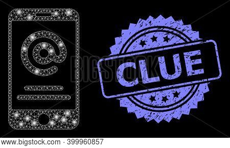 Glare Mesh Net Smartphone Address Info With Glowing Spots, And Clue Grunge Rosette Stamp. Illuminate