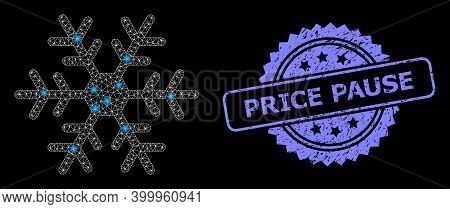 Glare Mesh Net Snowflake With Lightspots, And Price Pause Unclean Rosette Seal. Illuminated Vector M