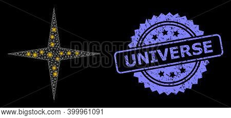 Bright Mesh Web Space Star With Glowing Spots, And Universe Unclean Rosette Seal Imitation. Illumina
