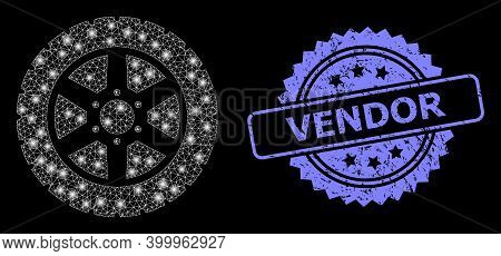 Glowing Mesh Web Tire Wheel With Light Spots, And Vendor Unclean Rosette Stamp. Illuminated Vector M
