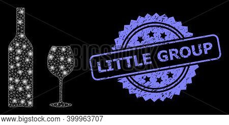 Shiny Mesh Web Wine Glassware With Lightspots, And Little Group Textured Rosette Seal Imitation. Ill