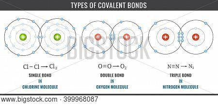 Covalent Bonds. Three Types Of Covalent Bonds Including Single, Double, And Triple Bonds. Illustrati