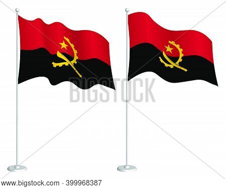 Angola Flag On Flagpole Waving In Wind. Holiday Design Element. Checkpoint For Map Symbols. Isolated