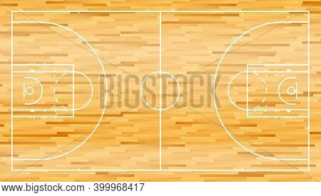 Basketball Court With Wooden Parquet Flooring And Markings Lines. Outline Basketball Playground Top