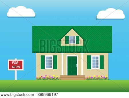 Vector Of House With Green Gable Roof For Rent. An Attic With A Dormer Window. For Rent Sign. Real E
