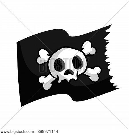 Pirate Flag. Skull And Bones On Black Ribbon. Element Of Death. Cartoon Flat Illustration. Jolly Rog