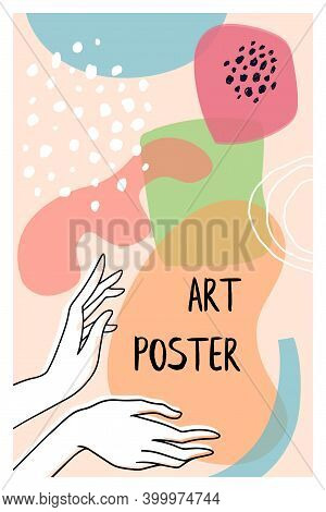 Cute Hand Drawn Shapes Poster With Hands Drawing. Doodle Elements And Objects. Abstract Contemporary