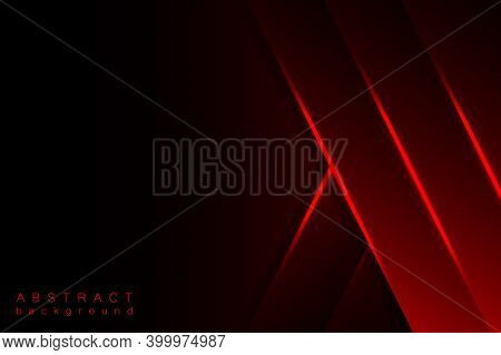 Abstract Modern Graphic Design Background. Red Geometric Shapes, Shimmering Stripes And Lines On A D